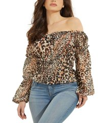 guess off-the-shoulder animal print top