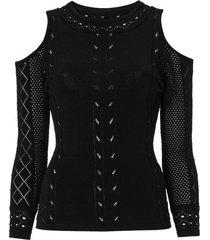 amaro feminino blusa abertura ombro manga longa, preto