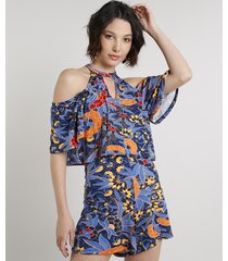 macaquinho feminino choker open shoulder estampado de folhagem manga curta azul marinho