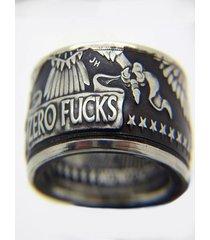 anillo de plata morgan half dollar hip hop punk para hombre