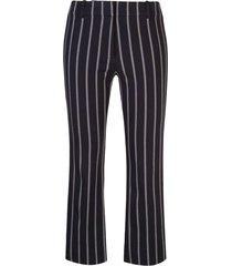 derek lam 10 crosby braided trim striped trousers - blue