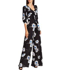 michael kors women's puff-sleeve floral silk jumpsuit - cadet - size 6