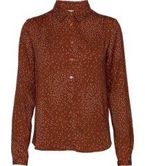shirt ls overhemd met lange mouwen bruin rosemunde