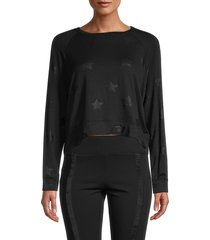 terez women's tonal star sweatshirt - black - size s