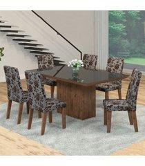mesa de jantar 6 lugares manu venus dover/cobre/preto - viero móveis