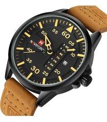 reloj deportivo cuero militar naviforce nf9074m amarillo