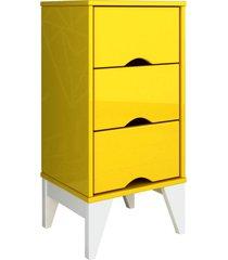 mesa de cabeceira 3 gav. twister amarelo/branco tcil mã³veis - amarelo - dafiti
