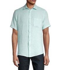 saks fifth avenue men's regular-fit short-sleeve linen shirt - pink - size s