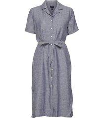 d2. linen chambray ss shirt dress knälång klänning blå gant