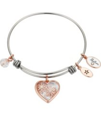 "rose gold two-tone stainless steel crystal ""mother"" heart and flower bangle bracelet"