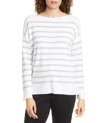 women's eileen fisher stripe organic cotton sweater, size large - white