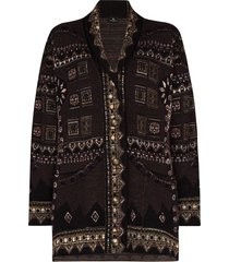 etro geometric-pattern knit cardigan - purple
