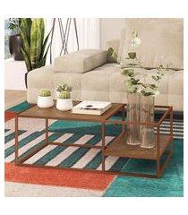 mesa de centro steel quadra artesano 2 prateleiras vermont e cobre