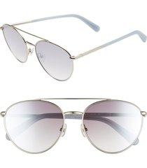women's rebecca minkoff indio 57mm aviator sunglasses - palladium/ grey