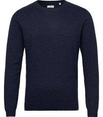 modern basic stickad tröja m. rund krage blå tom tailor