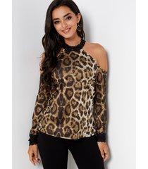 blusas de manga larga con hombros descubiertos y hombros descubiertos con encaje de leopardo