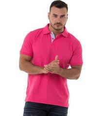 camiseta polo hamer basica para hombre color fucsia claro