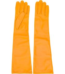 maison margiela yellow long-length gloves
