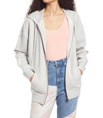 bp. women's zip-up hoodie, size medium in grey light heather at nordstrom