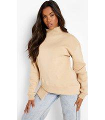 oversized sweater met asymmetrische zoom, stone