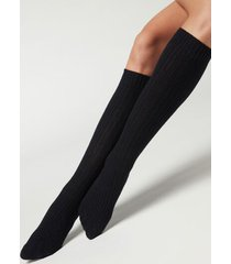 calzedonia women's ribbed long socks with wool and cashmere woman blue size tu