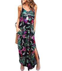 abertura diseño tirantes finos sin mangas con cuello en v y estampado tropical vestido