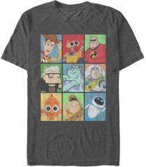 disney pixar men's epic boxed up line up character, short sleeve t-shirt