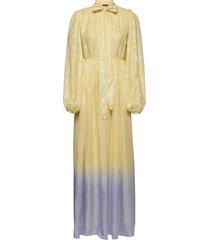 avery, 853 metallic chiffon maxi dress galajurk geel stine goya
