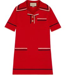 gucci trimmed fine-knit polo dress - red