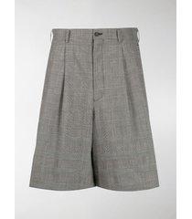 comme des garçons check pleated-front bermuda shorts
