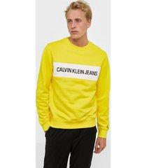 calvin klein jeans instit contrast panel reg cn tröjor yellow