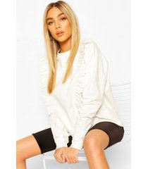 frill trim sweater, ivory