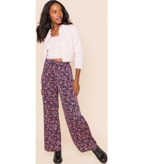 women's tara front tie floral pants in pink by francesca's - size: s