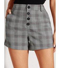 shorts de cintura media a cuadros con botones grises