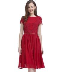 vestido aplicación encaje rojo nicopoly