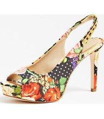 buty na obcasie w kwiaty i kropki model edyn