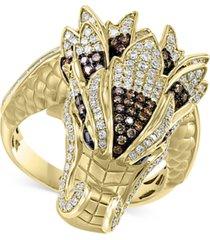 effy diamond dragon statement ring (3/4 ct. t.w.) in 14k gold
