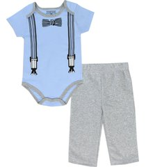 pure one boy's 2-piece bow tie & suspenders graphic print jogger outfit