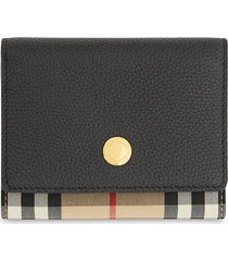 burberry small vintage check folding wallet - black