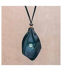 men's howlite and leather pendant necklace, 'thai cowboy in blue' (thailand)