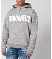 dsquared2 men's cool fit logo hoodie - grey melange/white - xxl