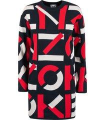 kenzo monogram sweater dress