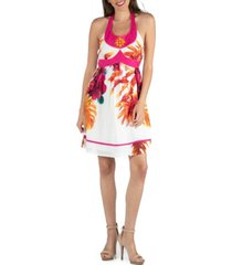 24seven comfort apparel floral print beaded halter a-line dress