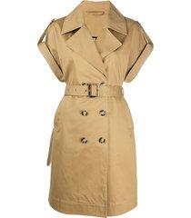 pinko short-sleeve double-breasted coat - neutrals