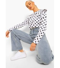 oversized t-shirt met geplooide kraag en stippen, white