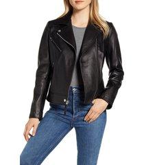 women's derek lam 10 crosby lambskin leather moto jacket, size x-small - black