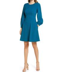 women's eliza j long sleeve a-line dress, size 6 - blue/green