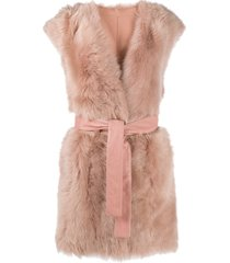 drome reversible tied-waist gilet - pink