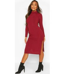 petite rib roll neck split hem midi dress