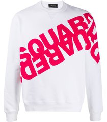 dsquared2 mirrored logo cotton sweatshirt - white